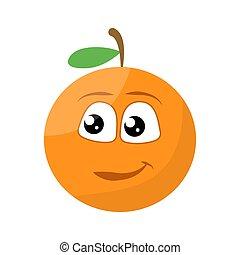 vector, naranja, sonreír feliz, carácter, cara, ilustración, lindo