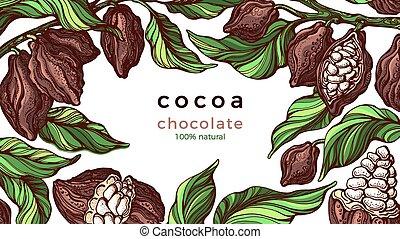vector, natural, frame., chocolate., cacao, plantilla