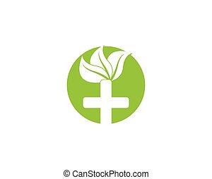 vector, naturaleza, salud, logotipo