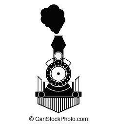 Vector negro de tren antiguo