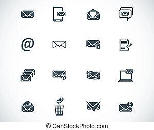 vector, negro, email, conjunto, iconos