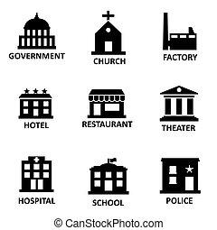 Vector negro gobierno construyendo iconos