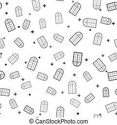 vector, negro, patrón, icono, arqueado, aislado, blanco, ventana, seamless, ilustración, fondo.