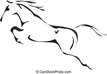 Vector negro y blanco contornos de caballo saltarín