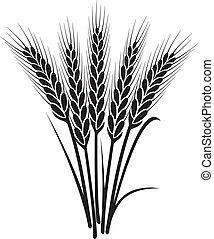 Vector negro y blanco montón de orejas de trigo
