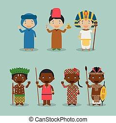 vector:, niños, 7, vestido, nacional, áfrica, diferente, trajes, conjunto, caracteres, nacionalidades, mundo, 2.