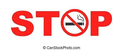 vector, no, blanco, signo., ilustración, fumar, aislado, plano de fondo