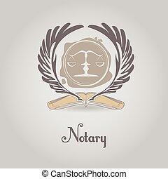 vector, notary, plantilla, logotipo, legal, organization.