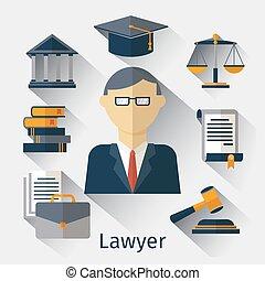 vector, o, abogado, abogado, plano de fondo, jurista, concepto