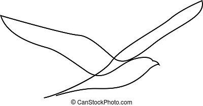 vector, o, gaviota, diseño, gaviota, estilo, línea, mano, dibujado, moscas, minimalism, uno, ilustración, silhouette.