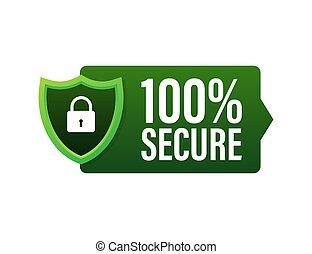 vector, o, grunge, seguro, icon., acción, illustration., insignia, website., comercio, 100, botón