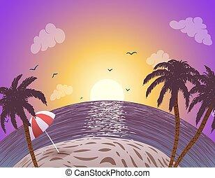vector, ocaso, costa, océano, plano de fondo, árboles de palma
