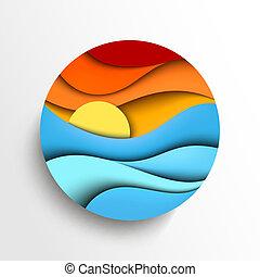 vector, ocaso, sea., ilustración, icono