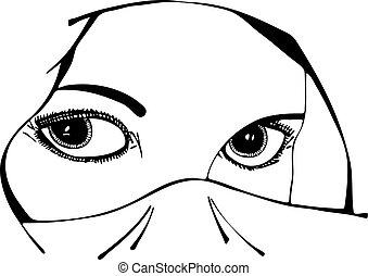 vector, ojos, mujer, velo, debajo