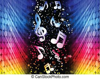 Vector: olas abstractas coloridas en el fondo negro con notas musicales