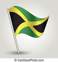 Vector ondeando bandera simple triángulo jamaican en el poste - símbolo nacional de jamaica con palo de metal inclinado