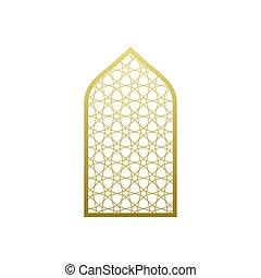 vector, ornamento, islámico, mezquita, ramadan, árabe, ventana, estilo, puerta, árabe, pattern.