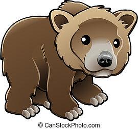 vector, oso pardo, oso marrón, lindo, ilustración