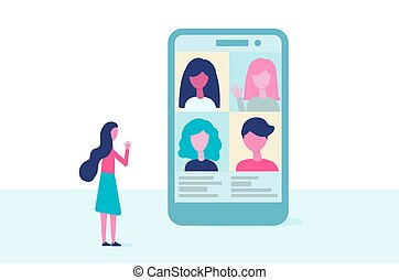 vector, pantalla, trabajo, remoto, reunión, design., gente, vídeo, educación, conference., virtual, plano, comunicación, teléfono, concept., grupo, en línea, hablar.
