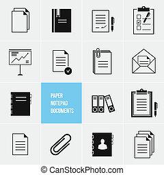 vector, papel, documentos, icono, bloc