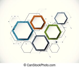 vector, papel, integrado, etiqueta, hexágono, plano de fondo, molécula, 3d