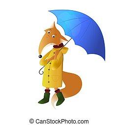 vector, paraguas, lindo, zorro, ilustración