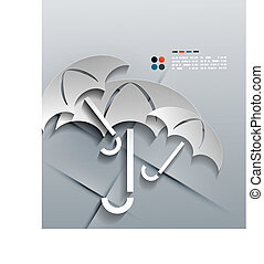 vector, paraguas, moderno, papel, diseño, 3d