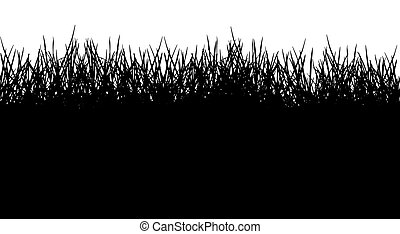vector, pasto o césped, ilustración, seamless, silhouette., patrón