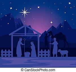 vector, pastor, bebé, joseph, diseño, feliz navidad, maría, natividad