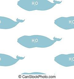 vector, patrón, bosquejo, style., seamless, ballenas, groenlandia, silueta, ballena, derecho