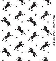 vector, patrón, negro, unicornio, seamless