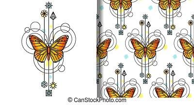 vector, patrón, seamless, acuarela, mariposa, impresión