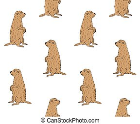 vector, patrón, seamless, marrón, marmota, marmota