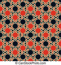 vector, pattern., árabe, islámico, geométrico, illustration., seamless