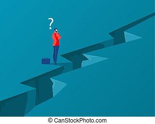 vector, pensamiento, posición, hombre de negocios, success., manera, logro, desafío, concepto, overcomes, obstáculo, abismo