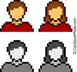 Vector Pixel macho iconos femeninos
