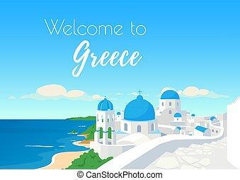 vector, plano, bienvenida, cartel, grecia, plantilla