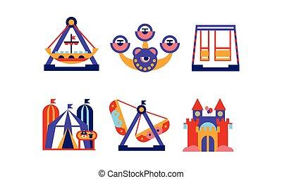 Vector plano de elementos del parque de diversiones. Atracciones de feria, carruseles y tienda de circo