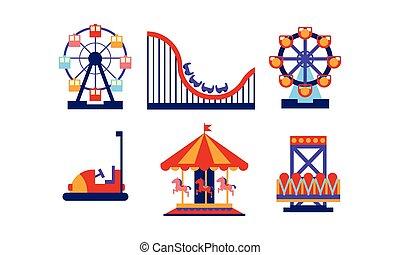 Vector plano de elementos del parque de diversiones. Atracciones de feria y carruseles. Tema de entretenimiento