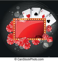 vector, plano de fondo, casino