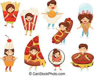 Vector plano de niños en trajes de comida. Lindos chicos y chicas con caras felices. Niños en uniforme de carnaval