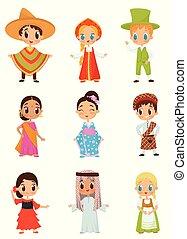 Vector plano de niños pequeños en diferentes trajes nacionales. Chicos y chicas con ropa tradicional