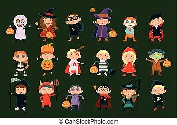 Vector plano fijado con niños lindos en trajes festivos. Graciosos niños y niñas celebrando Halloween