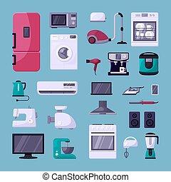 vector, plano, hogar, conjunto, color, aparato, ilustraciones