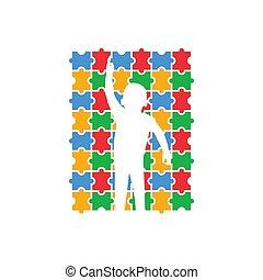 vector, plantilla, diseño, aislado, autism, icono, ilustración