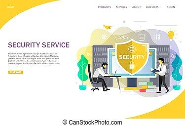 vector, plantilla, en línea, sitio web, servicios, página, aterrizaje, seguridad