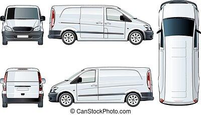 vector, plantilla, furgoneta, aislado, blanco