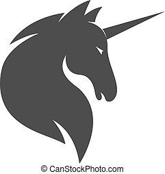 vector, plantilla, o, logotipo, caballo, unicornio