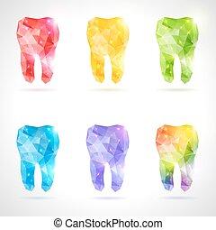 Vector poligonal de dientes.