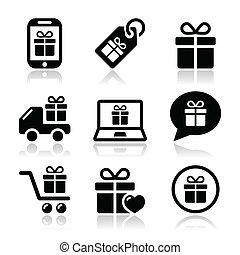 vector, presente, conjunto, compras, iconos